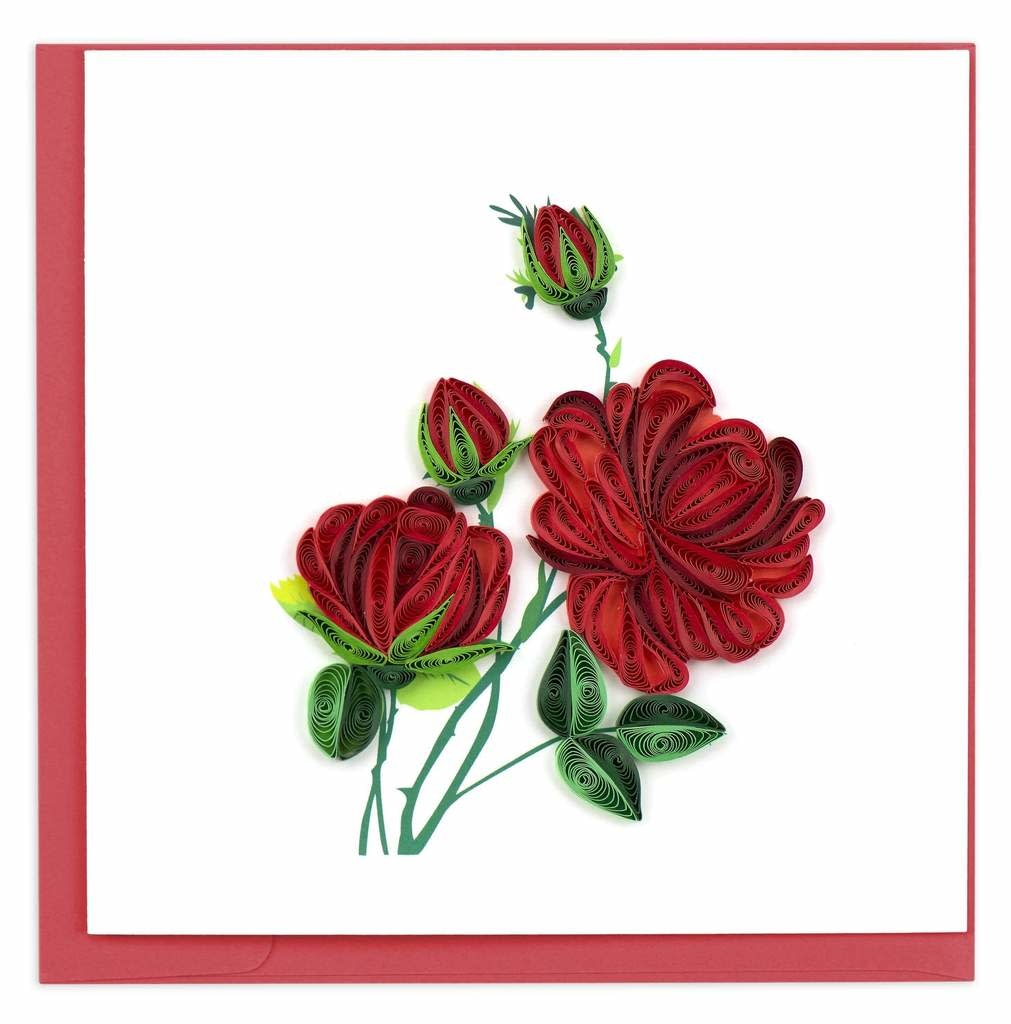 Quilling Card Red Roses Quilling Card