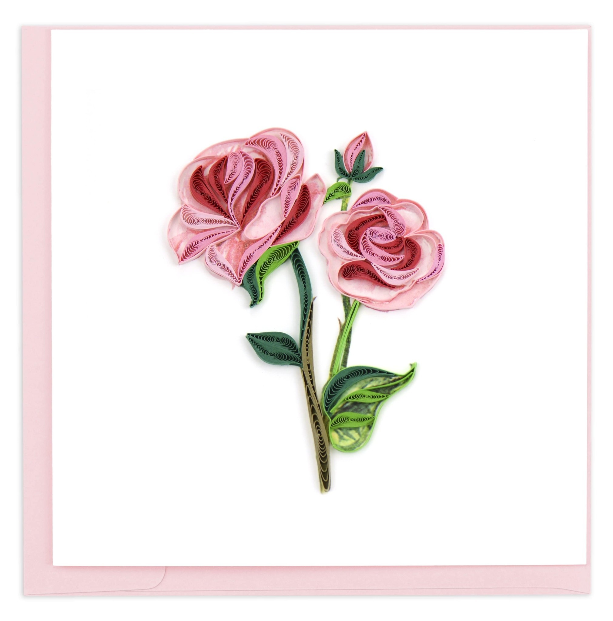 Quilling Card Long Stem Pink Roses Quilling Card
