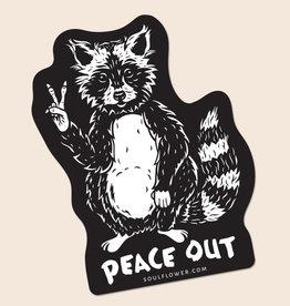 Soul Flower Peace Out Raccoon Sticker
