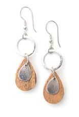 Fair Anita Wooden Teardrop Dangle Earrings- Silver