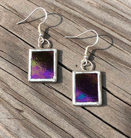 Amber Stained Glass Earrings Square