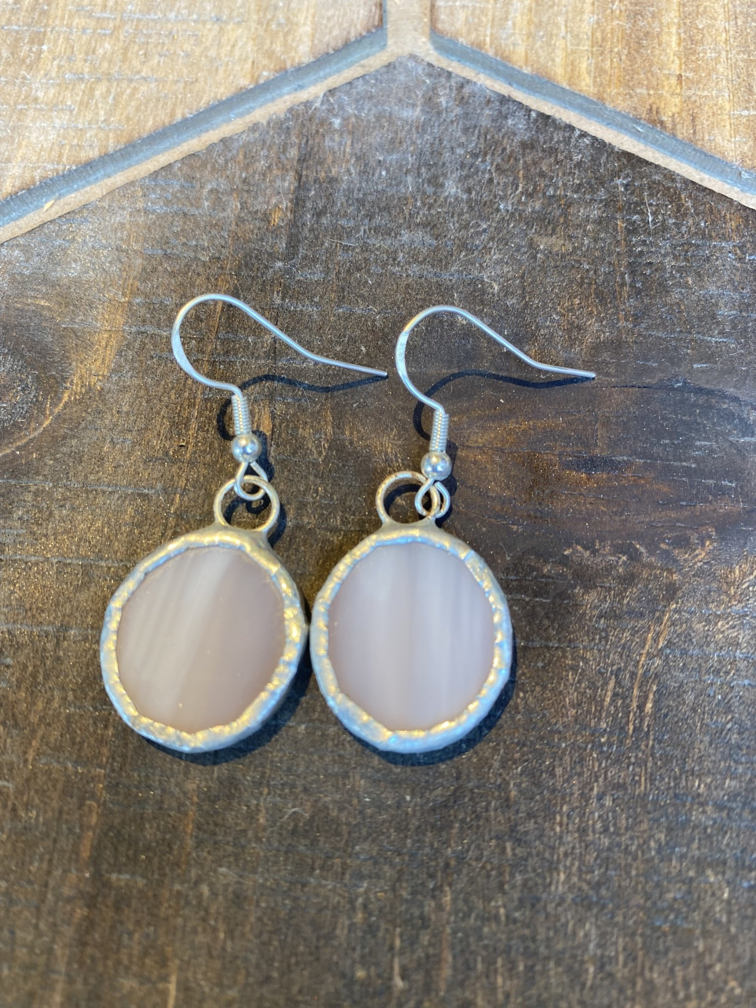 Amber Stained Glass Circle Earrings