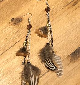 Ziggywear Pheasant Feather Chain Earrings