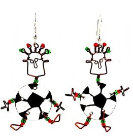 Global Crafts Dancing Girl Soccer Earrings