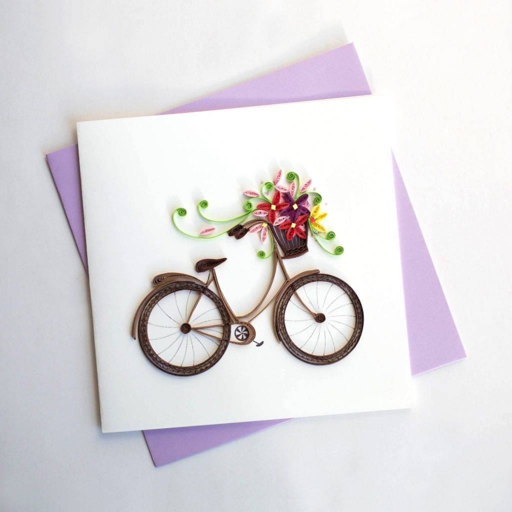 Quilling Card Bicycle with Flower Basket