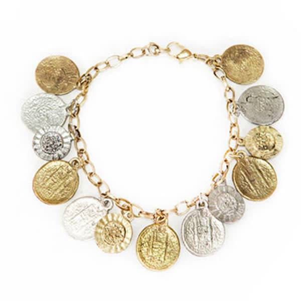 Matr Boomie Coin and Flower Charm Bracelet