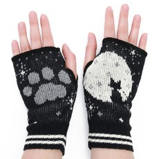 Green 3 Apparel Cat Moon Handwarmers