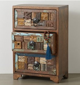 Reclaimed Wood Block Tabletop Chest