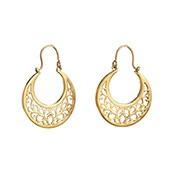 Asha Handicrafts Association Gold Ornate Crescent Earrings