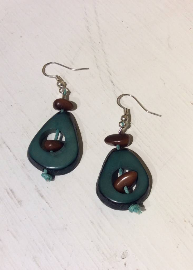 Tagua Thick Slice & Chip Earrings