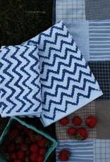 Liz Alig Blue Zig-Zag Printed Towels