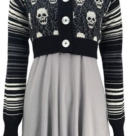 Green 3 Apparel Skull Cropped Cardigan