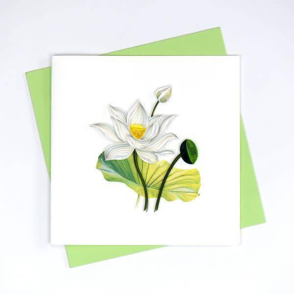 White Lotus Quilling Card