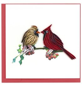 Quilling Card Cardinal Couple