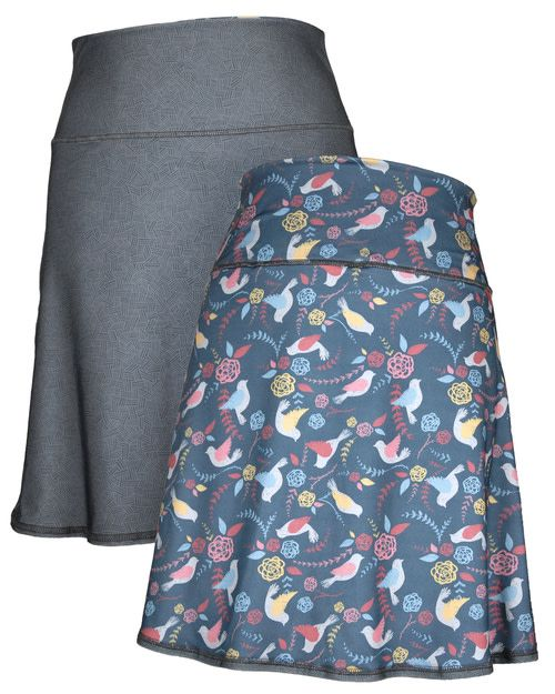 Green 3 Apparel Multi Birds & Crosshatch Reversible Sport Skirt