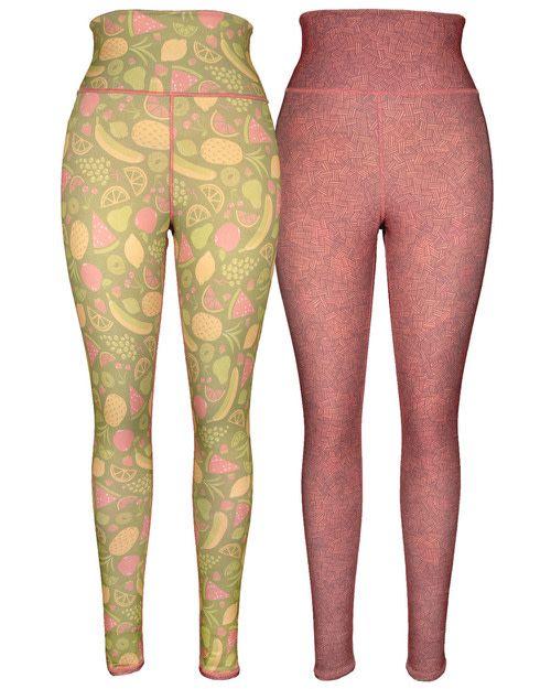 Green 3 Apparel Fruits & Crosshatch Reversible Leggings