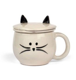 Ten Thousand Villages Cat Mug W/Strainer & Lid