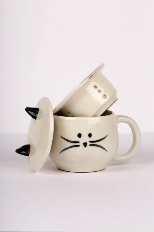 Ten Thousand Villages Cat Mug W/Strainer & Lid