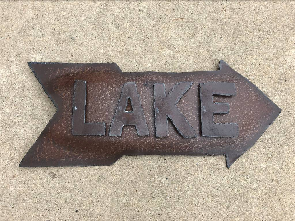 Back To Nature Lake Sign w/Arrow