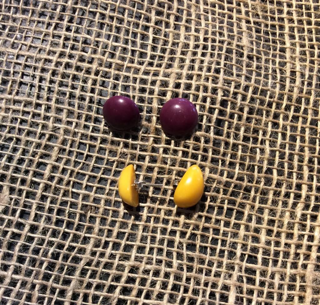 Tagua Button Earrings