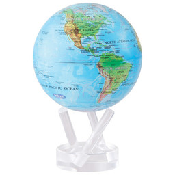 "Mova Globe - 4.5"" Blue w/Relief Map Earth"