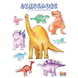 Popular Dinosaurs Watercolor Poster