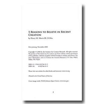 Five Reasons to Believe in Recent Creation - eBook