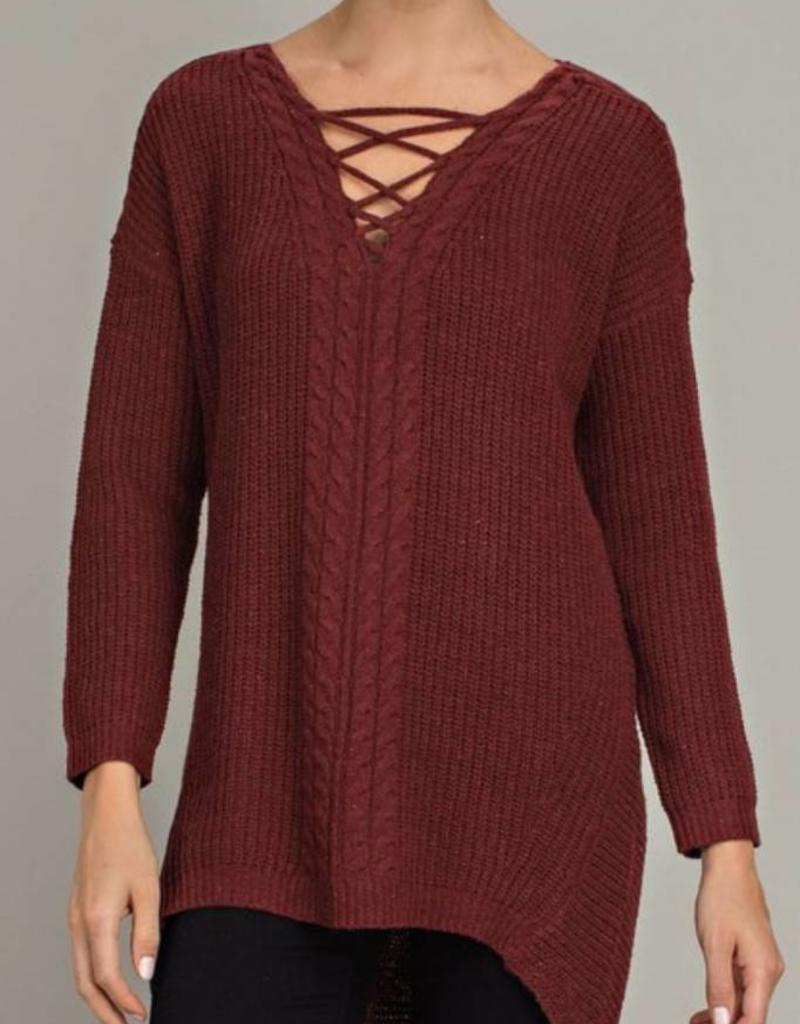 LLOVE Criss-Cross Knit Tunic