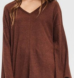 CHERISH Front Seam Brushed Sweater