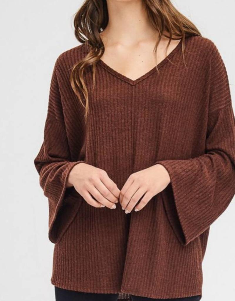 CHERISH Front Seam Brushed Sweater