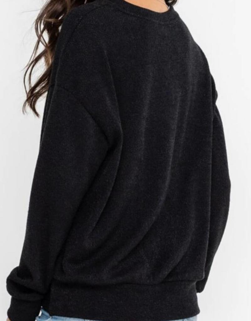 Ribbed Draped Hem Pullover Top
