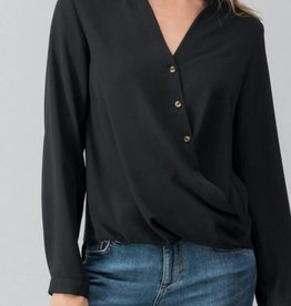 TREND NOTES Button Surplice Cuff Blouse