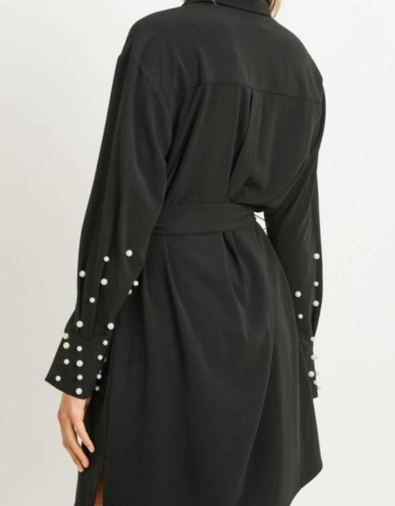 Pearl Embellished Shirt Dress