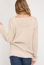 SHE + SKY Front Twist Sweater