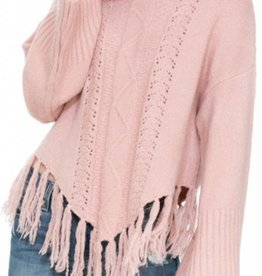 ARK & CO. Frill Turtleneck Poncho