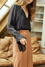 CHARME U Neck Tie Blouse featuring Ruffle Sleeve
