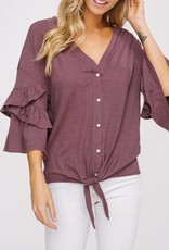 LISTICLE Front Tie V-Neck Button Down