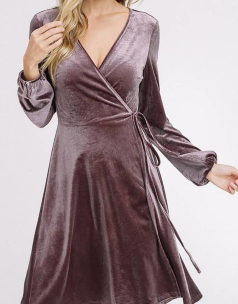 LISTICLE Velvet Wrap Dress