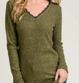 Ribbed Fitted Lace V-Neck