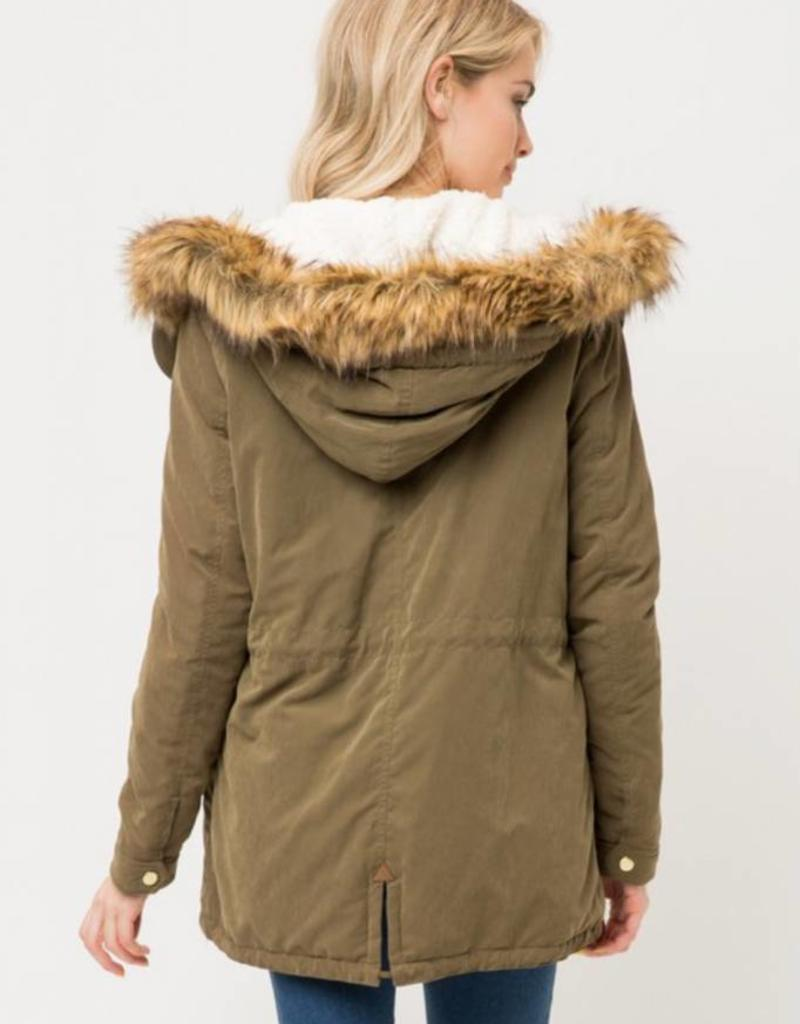 LOVE TREE Sherpa Lined Jacket