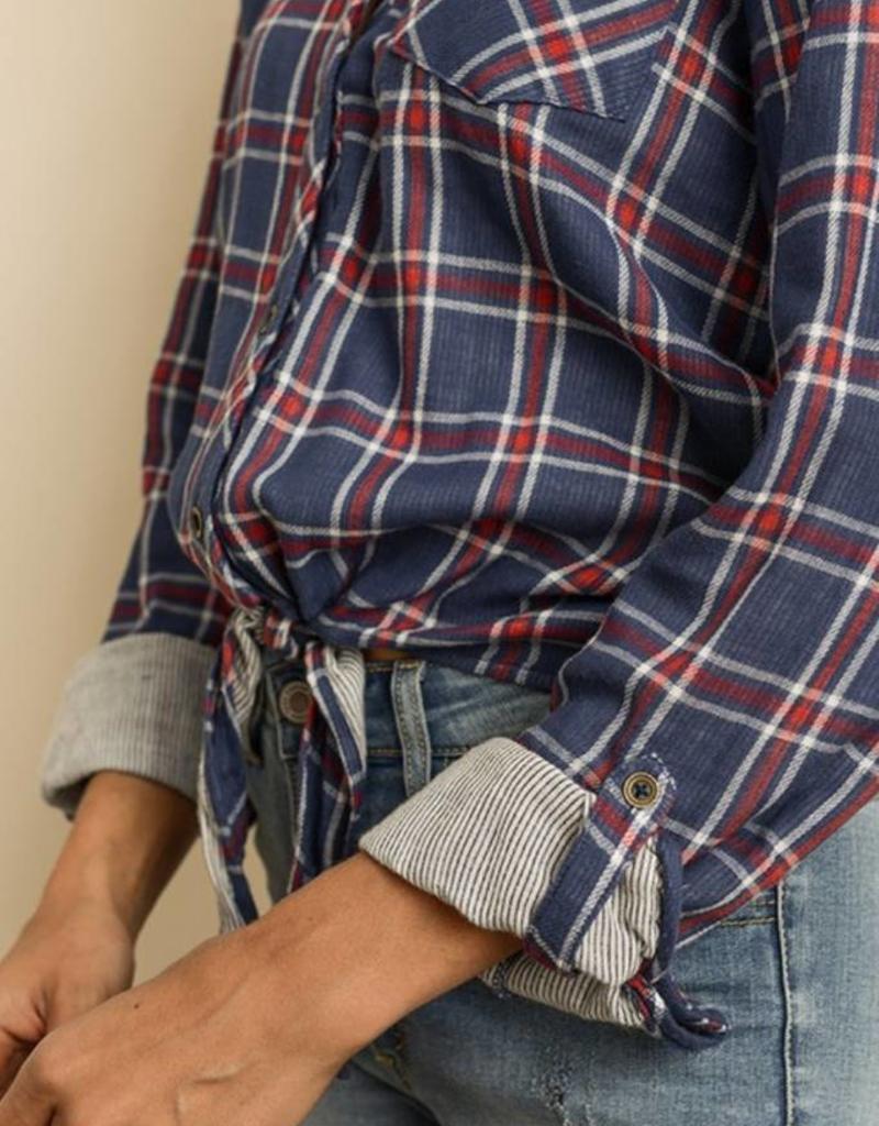 DRESS FORUM Check Tie-Front Shirt