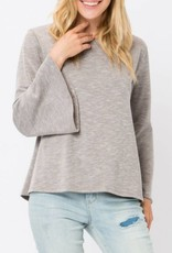 COZY CASUAL Ribbed Bell Sleeve Top