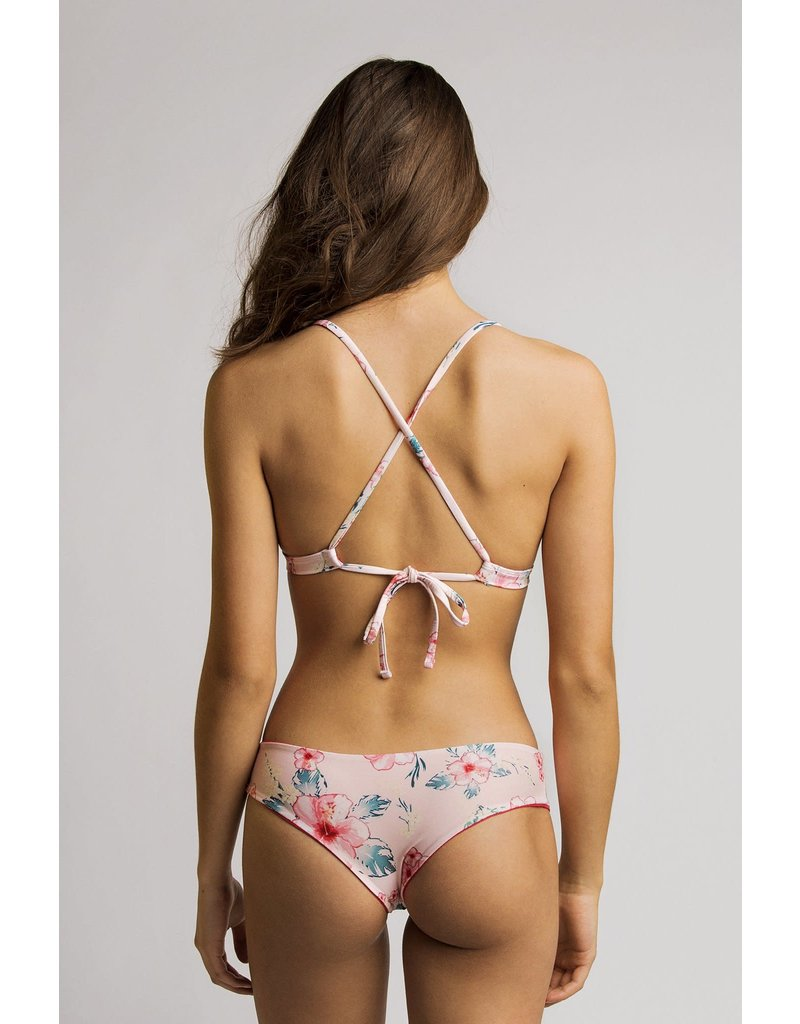 Manue Reversible Bikini Bottom in Mama Pink/ Fleur de bach