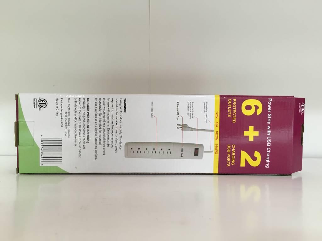 Tuff Bros Power Strip with USB (6+2)