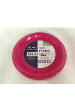 "Home Concepts Home Concepts 10"" Plastic Plates - 3 Pack - Pink"