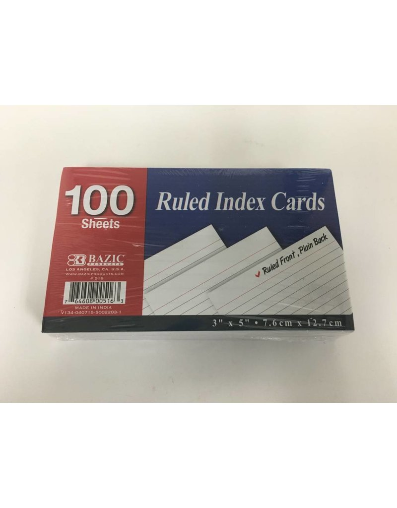 Bazic Index Cards - White 100 Sheets
