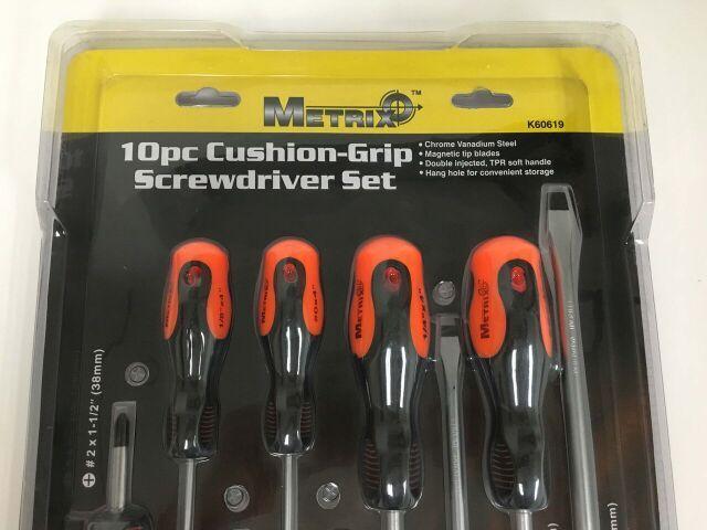 Metrix 10pc Cushion Grip Screwdriver Set