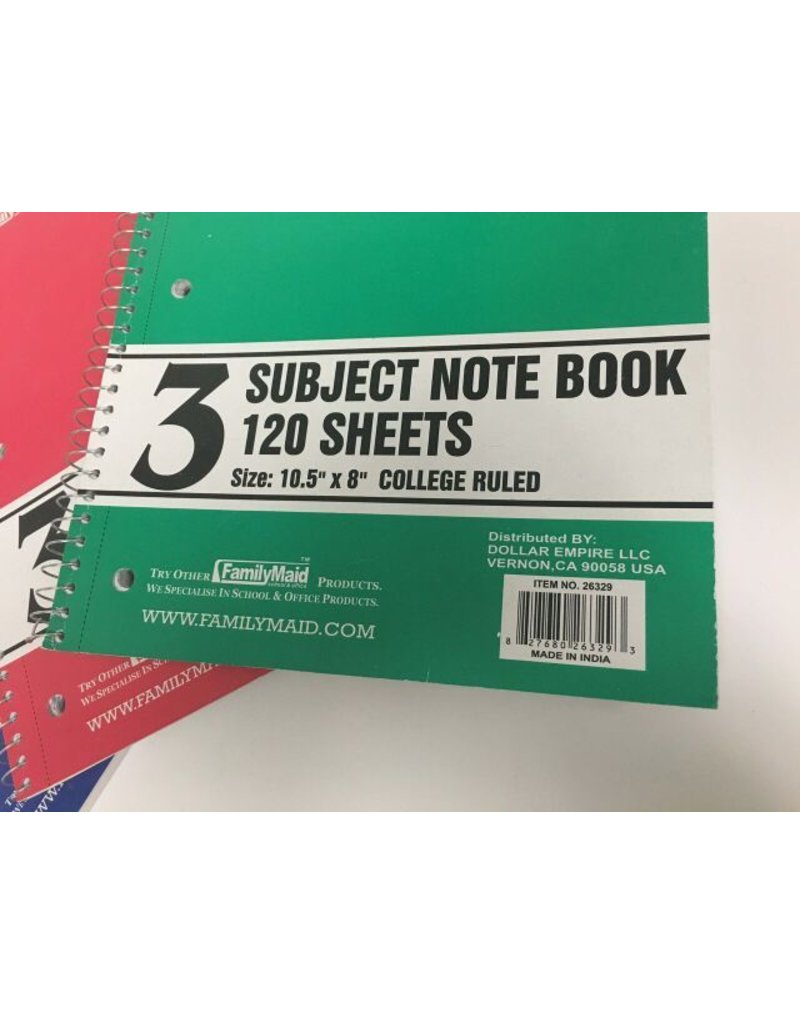 Familymaid 3 Subject Notebook College Ruled