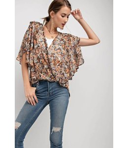 Easel Wrap Crop Blouse