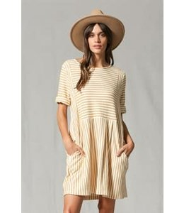 By Together stripped 2/4th slv dress with pockets